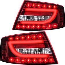 LED Lightbar Rückleuchten Set Audi A6 4F Limousine Bj 04-08 rot weiß chrom 6 Pin