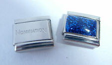BLUE GLITTER RECTANGLE 9mm Italian Charm + 1x Genuine Nomination Classic Link