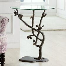 Bird & Pinecone Branch Metal Glass Accent End Table Rustic Lodge Cabin Pine Cone