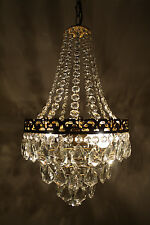 Antique / Vintage French Basket Style Brass & Crystals Bohemia Chandelier 1960's
