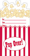 Popcorn Party Invitations, Sleepover Party, Movie Party, Cinema Party