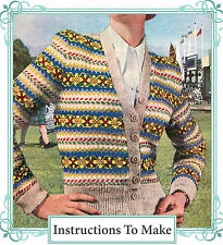 Vintage Tricot pattern-how pour faire un design 1940 Fair Isle Cardigan Dames