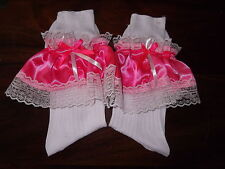 ADULT BABY~SCHOOL GIRL~SISSY~MAID~FANCY DRESS SATIN & LACE TRIMMED SOCKS