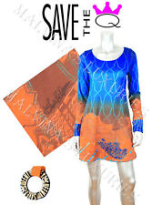 SAVE THE QUEEN DRESS VIBRANT PRINT  LONG SLEEVES sz S