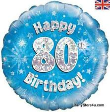 """18"""" BLUE HOLOGRAPHIC FOIL BALLOON """"HAPPY 80TH BIRTHDAY"""" CELEBRATION PARTY"""