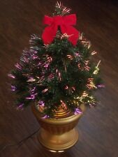 PRE-LIT VICTORIAN FIBER OPTIC LIGHTED CHRISTMAS TREE IN GOLD POT RED BOW TOPPER