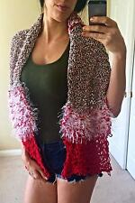 Winter Scarf Long Knitted Shawl Wrap THICK LARGE Handmade Crochet Red Green Big