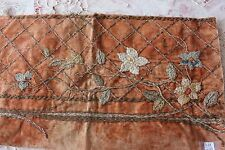 "Antique French 18th-19thC Metallic & Silk Embroidery On Velvet Fabric~11""LX19""W"