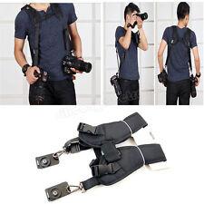 Black Dual Shoulder Quick Release Belt Sling Strap For 2 DSLR Camera Canon Nikon