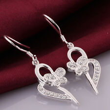 925Sterling Silver Jewelery Zircon Butterfly Heart Woman Earrings Dangle E543