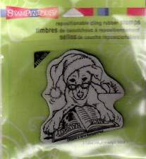 New STAMPENDOUS RUBBER STAMP cling Christmas SANTA DOG Free USA ship