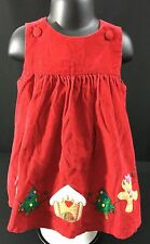 Baby Girl Red Corduroy Christmas Dress Jumper Holiday Applique 100% Cotton 24 M