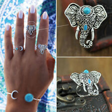 Women Bohemian Silver Plated Elephant Jewelry  Vintage Turquoise Adjustable Ring