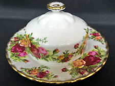 OLD COUNTRY ROSES COVERED BUTTER DISH, 1st QUALITY, VGC, 1962-73, ROYAL ALBERT