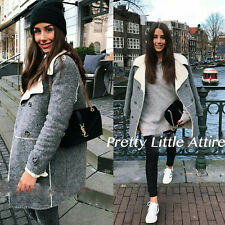 ZARA MARL GREY WOOL COAT WITH FLEECE INTERIOR AND BUTTONS SIZE M