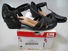EARTH Womens LUCK Black Calf Leather T-Strap Closed Toe Sandals US 6.5M