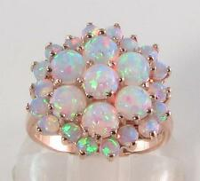 HUGE ENGLISH 9CT ROSE GOLD FIERY OPAL 25 STONE CLUSTER RING, FREE REIZE
