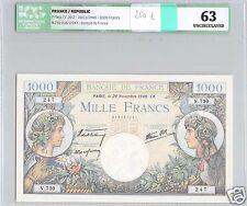 FRANCE 1000 FRANCS 28-11-1940 ALPHABET N.730 N° 247 PICK 96a ICG 63 UNC