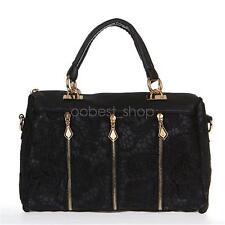 Lace Handbag Vintage Women PU Leather Satchel Messenger Bag Tote Shoulder Bag