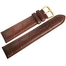 18mm Mens Fluco Brown Crocodile-Grain Leather GOLD Buckle Watch Band Strap