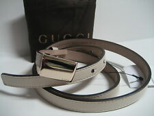 $265 NEW GUCCI Womens 38 IN 95 CM Skinny Cream Leather Belt Logo Plaque Buckle