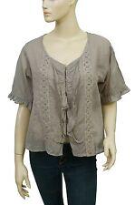 123468 New Ewa I Walla Lagenlook Lace Ruffle Button Down Cotton Blouse Top M