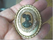 (CA10-1) RARE African American LADY brown + black CAMEO Pin Pendant JEWELRY