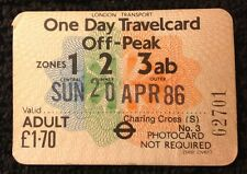 London Transport One Day Travelcard Off-Peak 1986