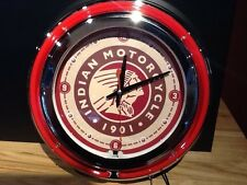 *NEW* Indian Chief Motorcycle Neon Light Up Bar Clock 15 inch Round Wall Mount