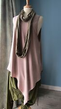 H&M Taupe Asymmetric Lagenlook Arty Hippy Boho Tunic Top M