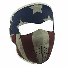 Faded Distressed USA American Patriot Flag Neoprene Full Face Mask Biker Adjusts