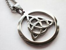 CELTIC KNOT TRIQUETRA TRINITY STAINLESS STEEL PENDANT AND CHAIN NECKLACE