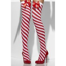 Twisted Red White Striped Thigh Highs Candy Striper Cane Barber Shop Cutie Elf