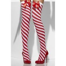 Twisted Red White Striped Candy Cane Thigh Highs Christmas Santas Elf Mrs Claus