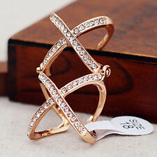 Punk Style Girl Crystal Knuckle Adjustable Ring Party Bridal Jewelry Gift