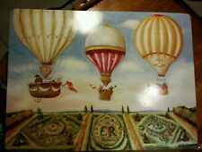 "15"" LOT OF 4 VINTAGE LADY CLARE HOT AIR BALLOON PLACEMATS"