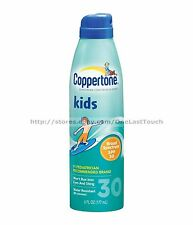 COPPERTONE Sunscreen KIDS SPF 30 Water Resistant CONTINUOUS SPRAY 6 oz Can NEW!