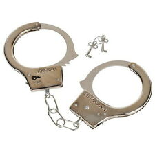STEEL HANDCUFFS 2 KEYS METAL POLICE MAGIC TRICK PRANK GAG GIFT PARTY  CARNIVAL