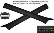 YELLOW STITCH 2X A POST PILLAR SKIN COVERS FITS MERCEDES W124 E CLASS 83-95