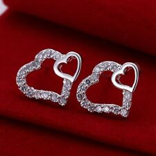 925 Sterling Silver Double Crystal Heart Earrings Womens Jewellery Ladies Gifts