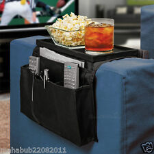Sofa Arm Rest 6 Pocket Organiser Snack Tray ,Tv Remote Control Phone Dvd Tidy