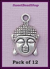 12 Antique Silver Colour 22 x 15mm Spiritual Peace Buddha Head Charms