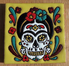 "Talavera Mexican tile 4"" Day of  the Dead high relief Frida Kahlo yellow flowers"