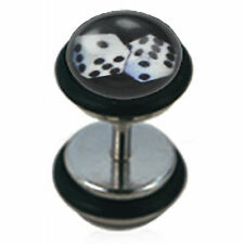 Surgical Steel Unplug Fake Black&White Lucky Number 7 Dice (Sold by Pair)