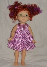 Jakks Pacific 2008 Fancy Nancy Red Curly Hair Doll White Purple Dress 18 inches