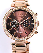 Henley Ladies Crystal Diamante Rim Watch, Rose Gold Tone Metal Strap, Tonal Dial