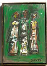 Original Oil Painting Modern Three Women Sisters Green Background Signed
