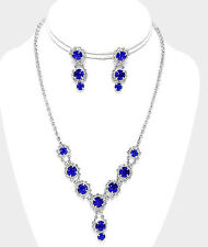 ELEGANT Jewelry ROYAL BLUE SAPPHIRE Wedding Prom Pageant Crystal Necklace Set