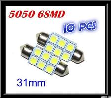 10 x CAR 12V LED 31MM FESTOON INTERIOR WHITE LIGHT BULB 5050 6SMD AUTO DOME