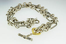 "DAVID YURMAN FIGARO STERLING SILVER & 18 KT GOLD 7 MM TOGGLE NECKLACE 18"" CHAIN"